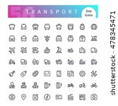 set of 56 transport line icons... | Shutterstock .eps vector #478345471