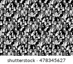 big crowd happy people black... | Shutterstock .eps vector #478345627