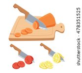 cut vegetable and fruit set. ... | Shutterstock .eps vector #478351525