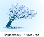 decorative blue tree silhouette ... | Shutterstock .eps vector #478352755
