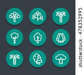 trees linear round icons set | Shutterstock .eps vector #478352995