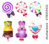 lollipop candy set. vector...