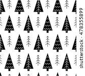 christmas tree black and white... | Shutterstock .eps vector #478355899