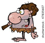 caveman carries club | Shutterstock .eps vector #47835607