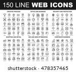 vector set of 150 flat line web ...
