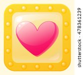 heart game icon in gold frame....