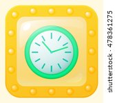 round green clock game icon in...