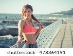 young fit woman on the pier in... | Shutterstock . vector #478364191