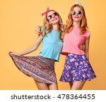 fashion hipster woman having... | Shutterstock . vector #478364455