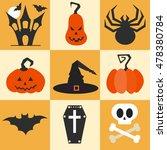 set of flat halloween icons.... | Shutterstock .eps vector #478380784