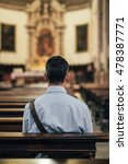 man sitting in a pew at church... | Shutterstock . vector #478387771