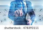 businessman is pressing button...   Shutterstock . vector #478393111