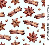 seamless pattern with spices.... | Shutterstock . vector #478399411