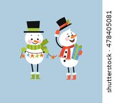 set of winter holidays snowman. ... | Shutterstock .eps vector #478405081