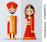 indian  bridal couple in flat... | Shutterstock .eps vector #478409971