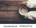 woman holding cup of hot coffee ... | Shutterstock . vector #478413721