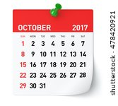 october 2017   calendar.... | Shutterstock . vector #478420921