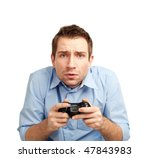 curious student playing video games. Isolated on white background. - stock photo