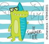 cute crocodile on the beach... | Shutterstock .eps vector #478443001