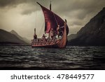 group of vikings are floating... | Shutterstock . vector #478449577
