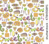 hand drawn sweets and candies... | Shutterstock .eps vector #478450891