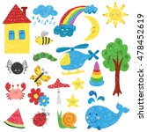 children drawings set. colorful ... | Shutterstock .eps vector #478452619
