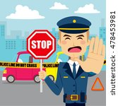 policeman holding traffic sign... | Shutterstock .eps vector #478453981