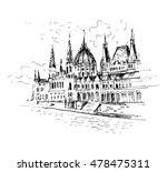 hand drawn hungarian parliament ... | Shutterstock .eps vector #478475311