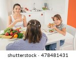 young mother and daughters... | Shutterstock . vector #478481431