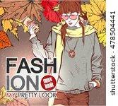 autumn fashion poster. vector.   Shutterstock .eps vector #478504441