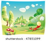 fox in the wood. funny cartoon... | Shutterstock .eps vector #47851099