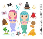 kawaii mermaid with blue and... | Shutterstock .eps vector #478512145