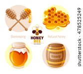 Bee Honey Icon Set With Cartoo...