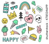 set of stickers  pins  patches... | Shutterstock .eps vector #478534699