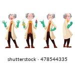 mad professor in lab coat and... | Shutterstock .eps vector #478544335