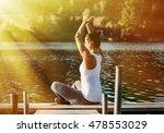 woman doing yoga on the lake  ... | Shutterstock . vector #478553029