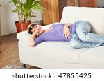 woman in living room on a sofa... | Shutterstock . vector #47855425