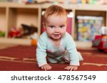 crawling funny baby  indoors at ...   Shutterstock . vector #478567549