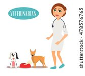 female veterinarian doctor with ... | Shutterstock .eps vector #478576765
