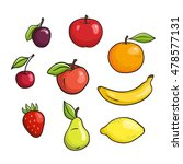 vector hand drawn fruits set... | Shutterstock .eps vector #478577131