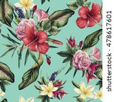 seamless floral pattern with... | Shutterstock . vector #478617601