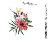 bouquet of tropical flowers ... | Shutterstock . vector #478617874