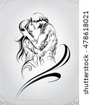 silhouette of a loving couple   Shutterstock .eps vector #478618021