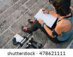fitness sporty woman writing on ... | Shutterstock . vector #478621111