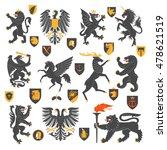 set of heraldic animals and...