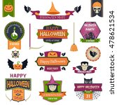 set of colorful happy halloween ... | Shutterstock .eps vector #478621534