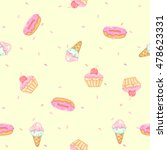 pattern cute cupcakes donut and ... | Shutterstock .eps vector #478623331