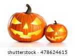 Halloween Pumpkins Isolated On...