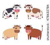 cute cow set. flat design style.... | Shutterstock .eps vector #478632784