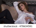 beautiful girl in white blouse... | Shutterstock . vector #478634581